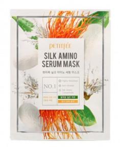 Тканевая маска с аминокислотами шелка PETITFEE Silk amino serum mask 25г