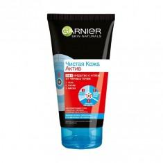 Garnier (Гарньер) Чистая кожа Актив Гель+Маска+Скраб 3в1 с углём 150мл