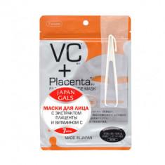 Маска с плацентой и витамином C JAPAN GALS Facial Essence Mask 7шт