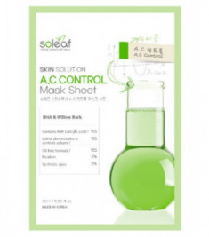 Маска тканевая для проблемной кожи с черной ивой Soleaf Skin Solution A.C Control Mask Sheet 25 мл