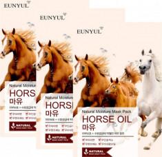 Набор тканевых масок с лошадиным маслом EUNYUL NATURAL MOISTURE MASK PACK HORSE OIL 22мл*3 шт