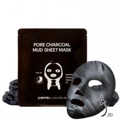 глиняная маска от черных точек с углем jj young pore charcoal mud sheet mask